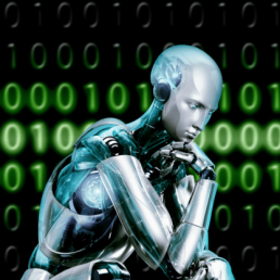 A robot sitting in front of a virtual numeric panel