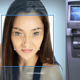 Face of a woman undergoing facial recognition