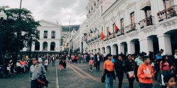 Ecuadorian square with crowd
