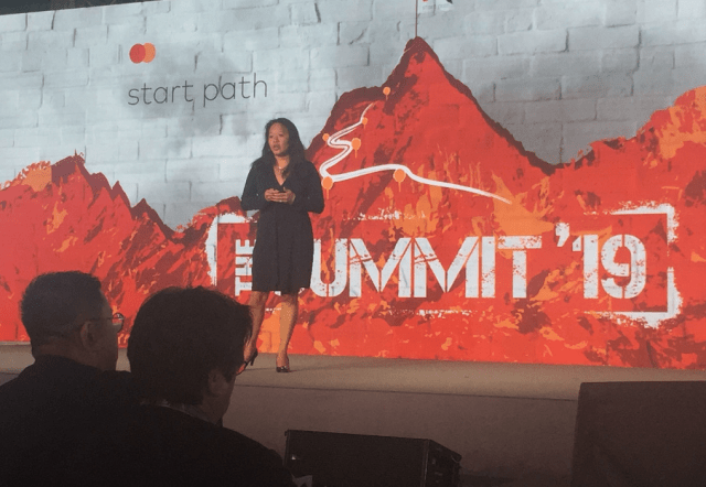 Cathy Ross speaking at the Mastercard 2019 Summit